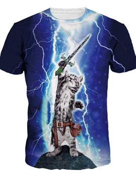 Cool Round Neck Cat Wave Sword Pattern 3D Painted T-Shirt