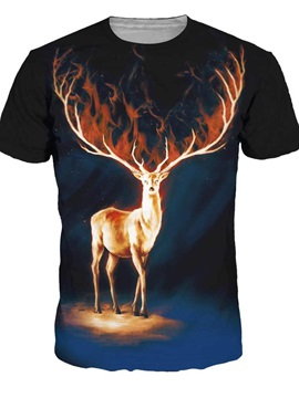 Cool Round Neck Deer Pattern Black 3D Painted T-Shirt
