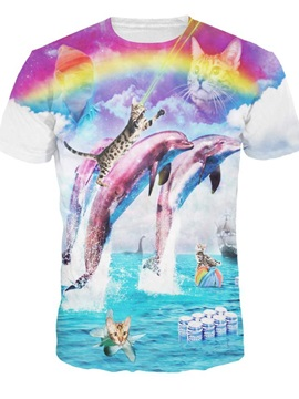 Colorful Round Neck Dolphin and Cat Pattern 3D Painted T-Shirt