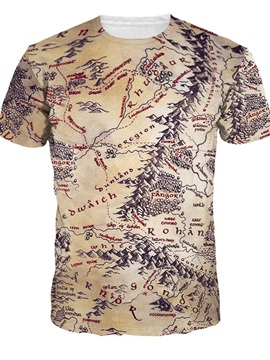 Round Neck Map Pattern 3D Painted T-Shirt