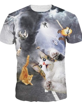 Round Neck Tornado and Cats Pattern 3D Painted T-Shirt