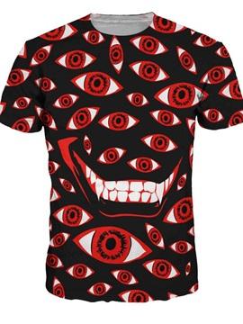 Round Neck Eyes Pattern Black 3D Painted T-Shirt