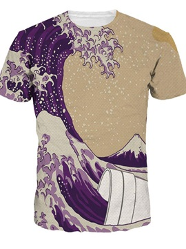 Modern Round Neck Waves Pattern 3D Painted T-Shirt