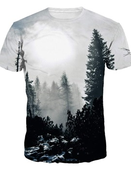 Round Neck Gray Trees Pattern 3D Painted T-Shirt