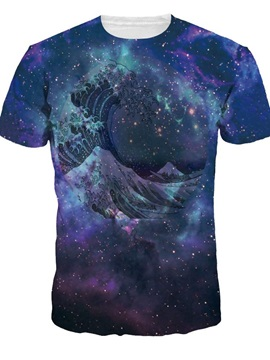 Amazing Round Neck Wave Pattern Galaxy Background 3D Painted T-Shirt
