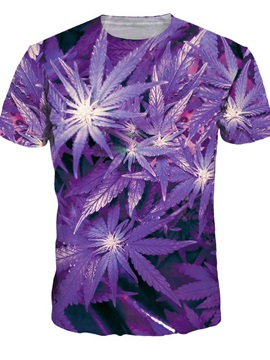 Unisex Leaf Crewneck Short Sleeve Purple 3D Pattern T-Shirt