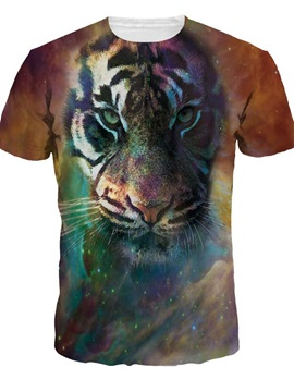 Special Round Neck Tiger Pattern 3D Painted T-Shirt