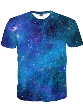 Short Sleeve Blue Galaxy Unisex Printed Casual 3D Pattern T-Shirt