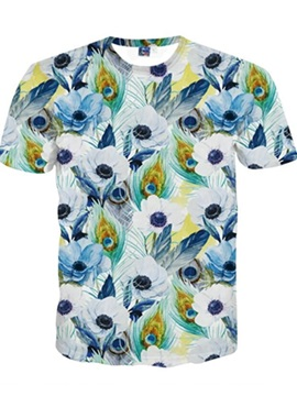 Polyester Pretty Round Neck Flower and Peacock Pattern 3D Painted T-Shirt