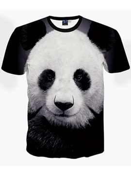 Cute Round Neck Panda Pattern Black 3D Painted T-Shirt