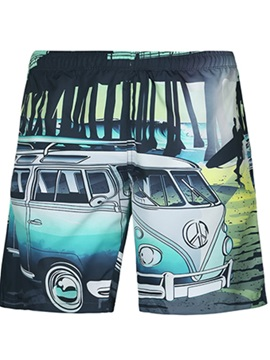 Fashion Cartoon Bus Pattern 3D Beach Shorts