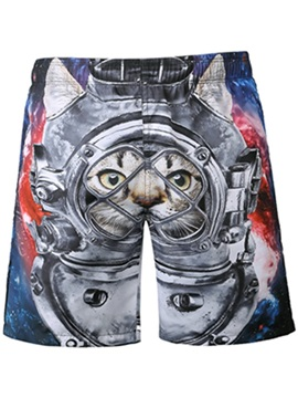 Cool Cat in Machine Pattern 3D Beach Shorts