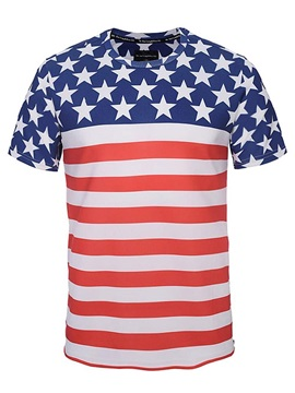 Popular Round Neck Stripe and Stars Pattern Side Zipper 3D Painted T-Shirt