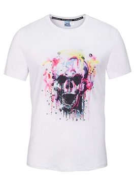 Round Neck Creative Skull Pattern White 3D Painted T-Shirt