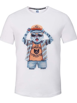 Fashion Round Neck Cool Cat Pattern White 3D Painted T-Shirt