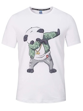 Round Neck Cartoon Panda Dance Pattern White 3D Painted T-Shirt