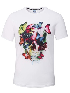 Super Round Neck Skull with Butterfly Pattern White 3D Painted T-Shirt