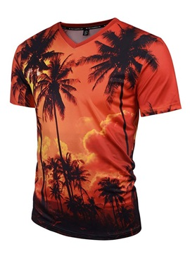 Short Sleeve Coconut Trees V-Neck 3D Pattern T-Shirt