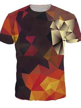 Unisex Casual Geometry Short Sleeve 3D Pattern T-Shirt