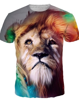 Fashion Round Neck Lion Pattern 3D Painted T-Shirt