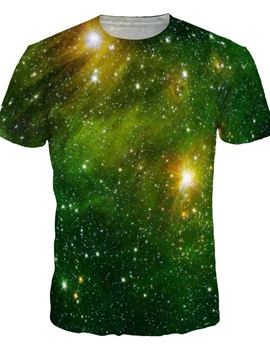 Shining Round Neck Green Galaxy Pattern 3D Painted T-Shirt