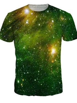Green Galaxy Crewneck Short Sleeve Unisex 3D Pattern T-Shirt