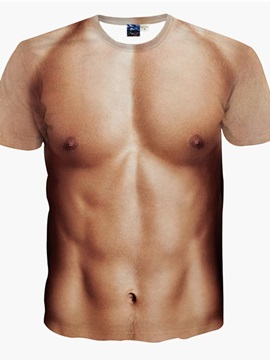 Funny Muscle Men Pattern Personality Spandex Round Neck 3D Painted T-Shirt
