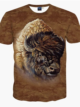 Wild Round Neck Buffalo Pattern 3D Painted T-Shirt