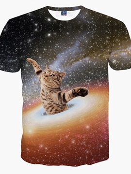 Vigorous Round Neck Cat and Universe Pattern 3D Painted T-Shirt