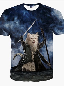 Attractive Round Neck Wizard Cat Pattern 3D Painted T-Shirt