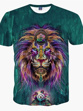 Lordly Round Neck Lion Face Pattern 3D Painted T-Shirt
