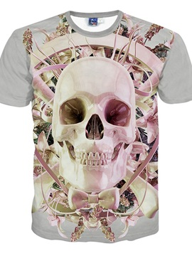 Amazing Round Neck Light Pink Skull Pattern 3D Painted T-Shirt