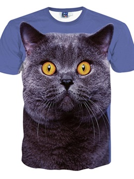 Adorable Round Neck Cat Face Pattern 3D Painted T-Shirt