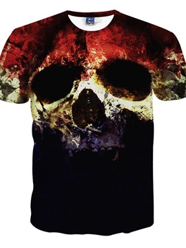Super Round Neck Skull Pattern 3D Painted T-Shirt