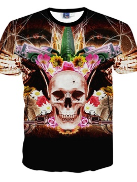 Fantastic Round Neck Skull Pattern 3D Painted T-Shirt
