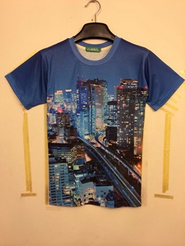Wonderful Round Neck City Constructions and Road Pattern 3D Painted T-Shirt