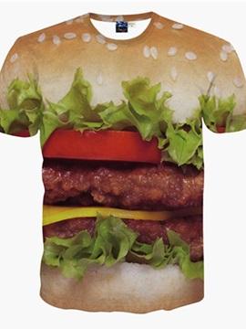 Bright Round Neck Hamburger Pattern 3D Painted T-Shirt