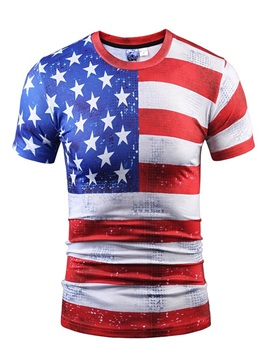 Graceful Round Neck Flag Pattern 3D Painted T-Shirt