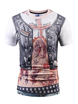 Round Neck Weskit And Tattoo Pattern 3D Painted T-Shirt