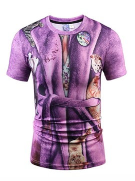 Attractive Round Neck Bathrobe Pattern 3D Painted T-Shirt