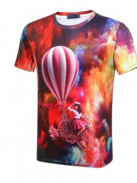 Popular Round Neck Nebular And Lady in Balloon Bike Pattern 3D Painted T-Shirt