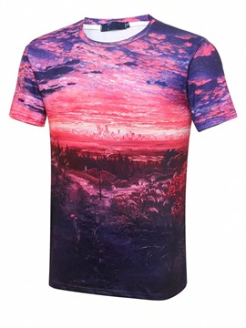 Fabulous Round Neck Rosy Clouds Pattern 3D Painted T-Shirt