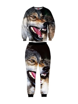 Wolf's Head Black Cool Men's 3D Sweatshirt Sets