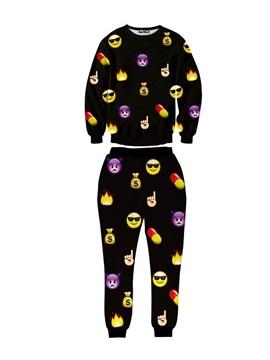 Black Kinds of SNS's Emotions Funny Men's 3D Sweatshirt Sets