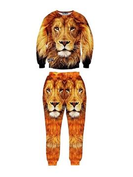 Lion King of Forest Fashion Men's 3D Sweatshirt Sets