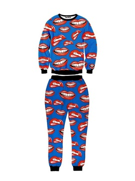 Mouth and Teeth Red Blue Men's 3D Sweatshirt Sets