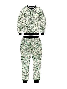 Money Fashion Rich Long-Sleeve Men's 3D Sweatshirt Sets