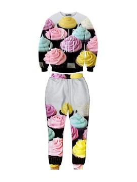 Cup Cake Pattern Long-Sleeve Men's 3D Sweatshirts Sets