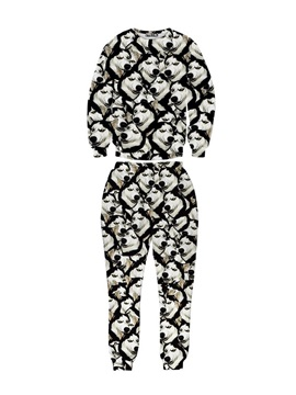 Dog Pattern Husky Long-Sleeve Men's 3D Sweatshirt Sets