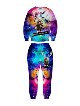 Owl in the Galaxy Spandex 3D Long-Sleeve Colorful Men's Sweatshirt Sets